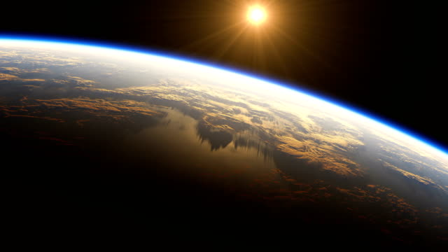 4K. Amazing Sunrise Over The Earth. View Of Planet Earth From Space. 3840x2160. video