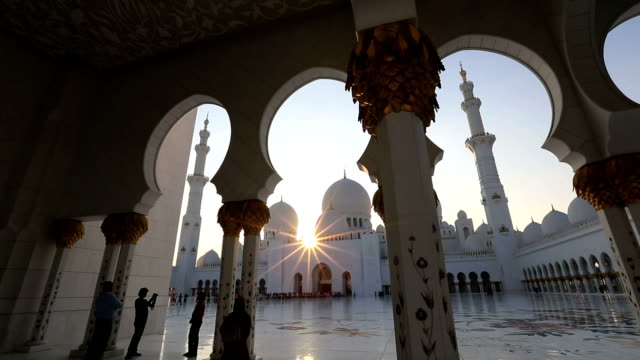 amazing sunset Sheikh Zayed Grand Mosque Abu Dhabi UAE video