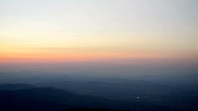 Amazing Sunset Sunrise With Sun Over Dark Mountain Ground Silhouette Panorama of Amazing Sunset Sunrise With Sun Over Dark Mountain Ground Silhouette horizon over land stock videos & royalty-free footage