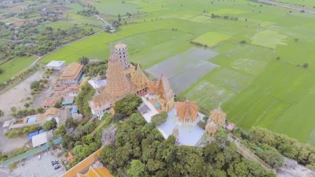 çeltik, hava video arasında dağda şaşırtıcı tapınağı - stupa stok videoları ve detay görüntü çekimi