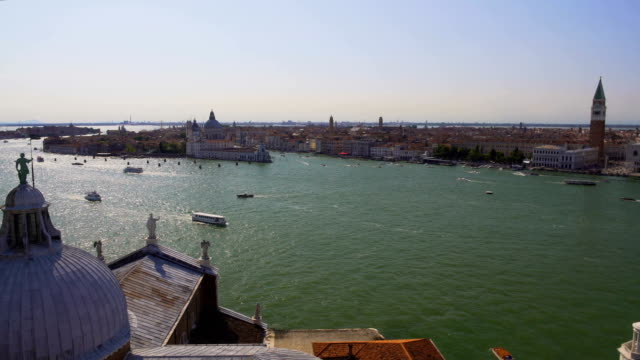 Amazing view from dome of Church of St. George at boats sailing Grand Canal video