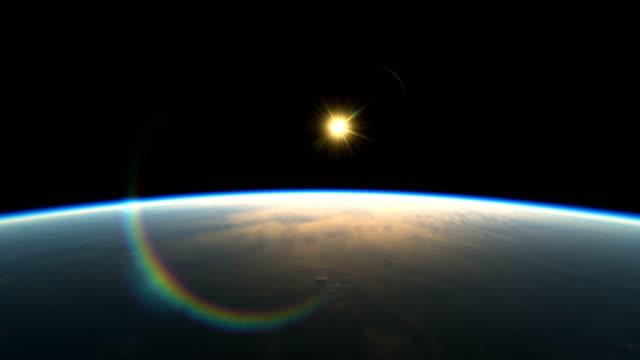 宇宙からの素晴らしい眺め惑星光線のリアルな3dアニメーションが立ち上がる - 地球点の映像素材/bロール