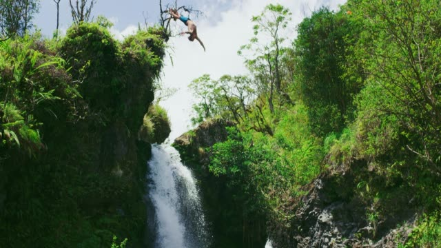 Amazing waterfall cliff jumping video