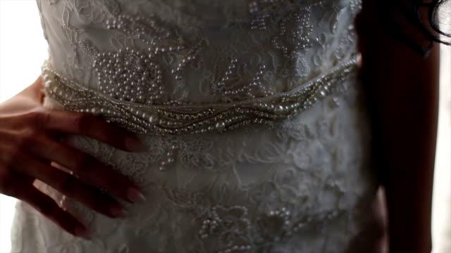 incredibile abito da sposa dettagli - 2016 video stock e b–roll