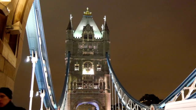 Amazing white lights from the Tower Bridge in London. video