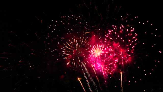 amazingly colorful fireworks display seamless loop - canada day stock videos & royalty-free footage