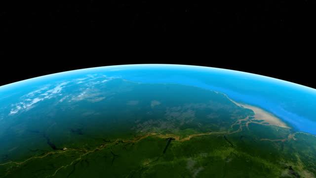 外宇宙から地球惑星のアマゾン川 - 大西洋点の映像素材/bロール
