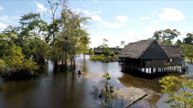 Amazon village and young girl on river skiff, Peruvian Amazon, Peru video