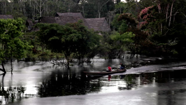 Amazon Villages and river skiffs, Peruvian Amazon, Peru video