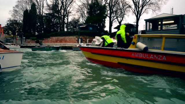 Ambulance boat in Venice canal, Italy 4K video