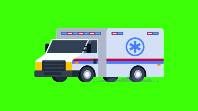 Ambulance Rides with Flashing Lights On. Transparent Background. video