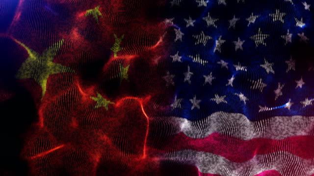 amerika und china flagge wettbewerb - amerikanische kontinente und regionen stock-videos und b-roll-filmmaterial