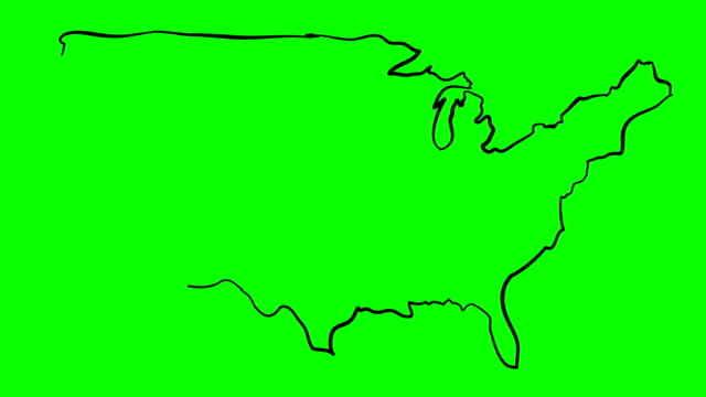 vidéos et rushes de carte de contour dessin amérique sur écran vert isolé whiteboard - contour