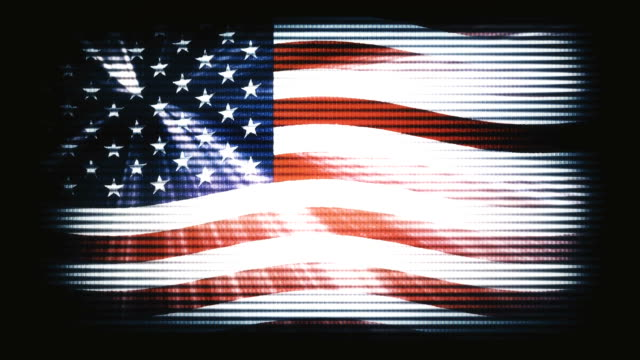 USA America flag waving old TV seamless loop with sun light rays new quality unique animated dynamic motion joyful colorful cool background video footage video