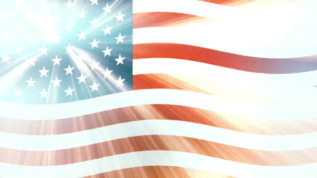 USA America flag waving seamless loop with sun light rays new quality unique animated dynamic motion joyful colorful cool background video footage video