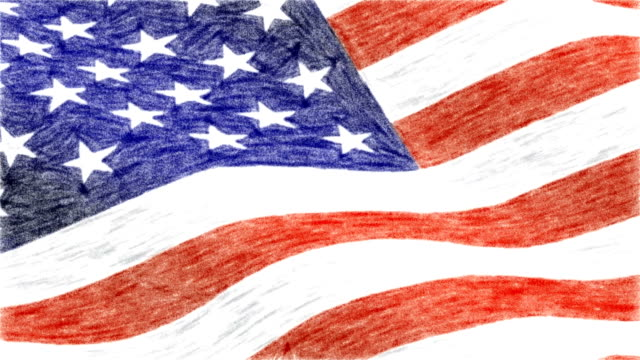 USA America pastel drawn flag waving new quality unique animated dynamic motion joyful colorful cool background video footage video