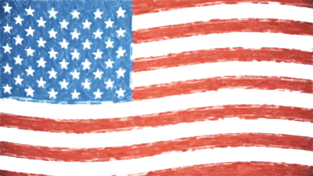 USA America pastel drawn flag waving seamless loop new quality unique animated dynamic motion joyful colorful cool background video footage video