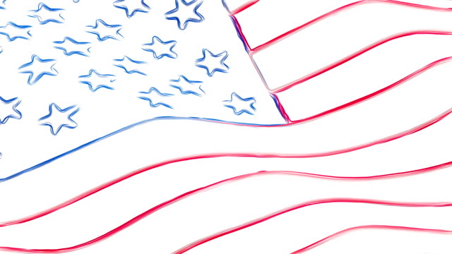 USA America pencil drawn flag waving new quality unique animated dynamic motion joyful colorful cool background video footage video