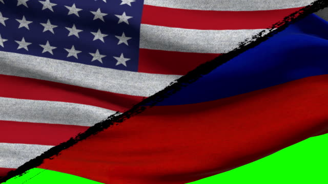 America Vs Russia Flags on a Green Screen video