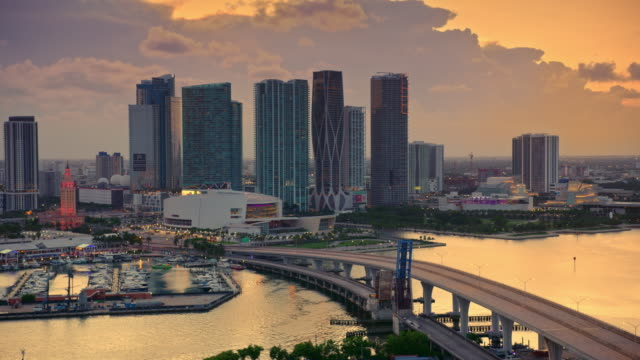 AERIAL American Airlines Arena in Miami, FL at sunset