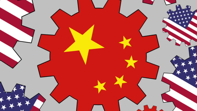 American and chinese flag gears spinning background video