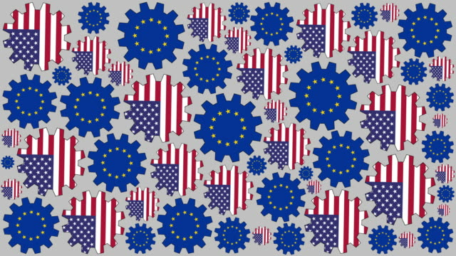 American and european flag gears spinning background video