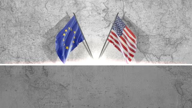 amerikanischer und europäischer anschluß-markierungsfahne - europäische union stock-videos und b-roll-filmmaterial