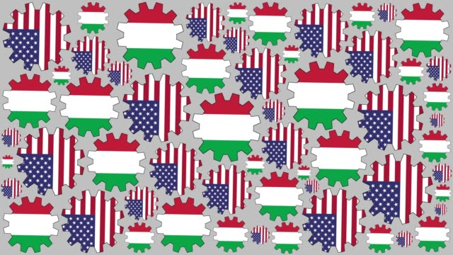 American and italian flag gears spinning background video