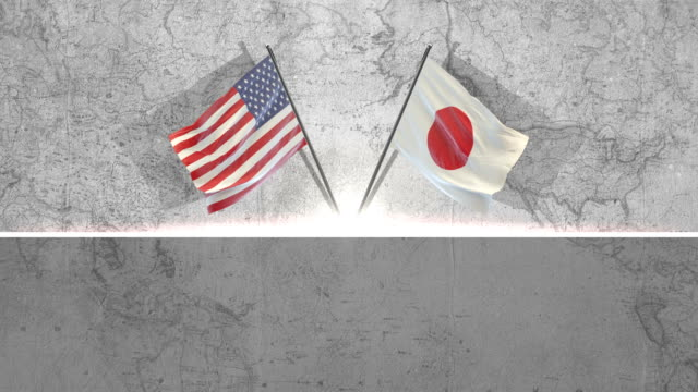 amerikanische und japanische flaggen - amerikanische kontinente und regionen stock-videos und b-roll-filmmaterial