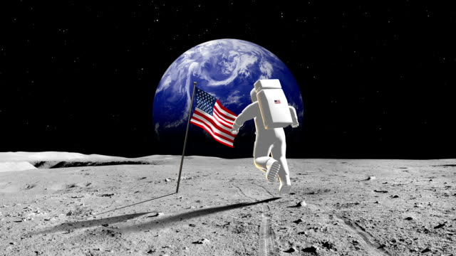 American Astronaut Walking On A Planet video