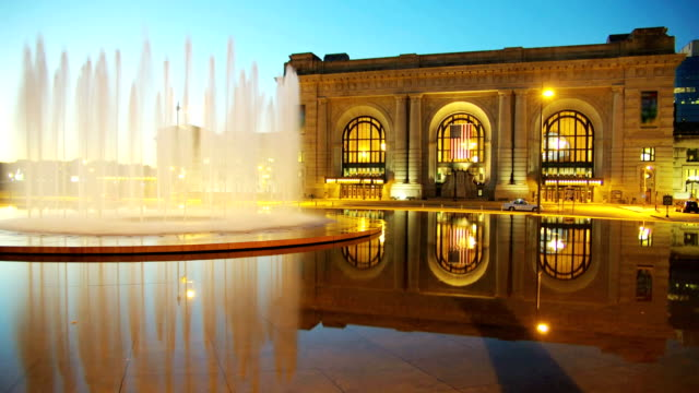 American city fountain time lapse Time lapse of Bloch Fountain in front of Union Station, Kansas City, MO fountains stock videos & royalty-free footage