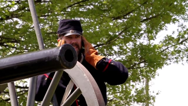 American Civil War cannon fires during a reenactment video