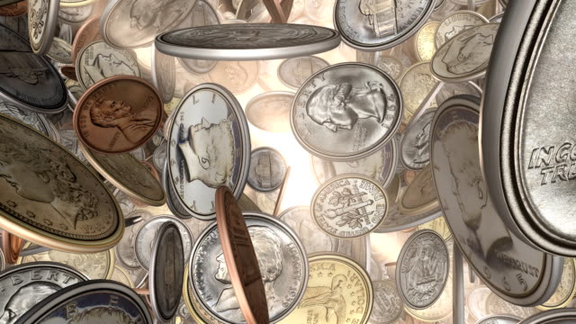 American Coins, Front View through Sunlight (Loop) American Coins, Front View through Sunlight (Loop) us coin stock videos & royalty-free footage