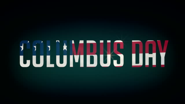 American Columbus Day flag,and typpography animation 4K video