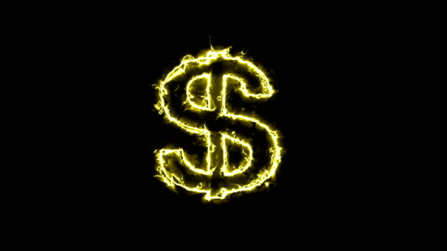 American dollar sign, silhouette in glowing energy aura. Two color solutions