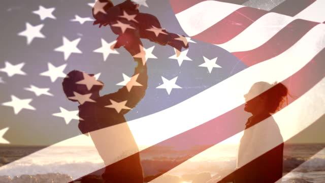 amerykańska rodzina - american flag filmów i materiałów b-roll