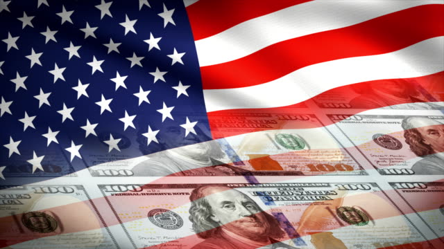 American flag and lots of one hundred dollar bills