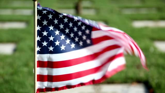 칠레식 플랙 at 군용동물에는 군인기념 묘지 - veterans day 스톡 비디오 및 b-롤 화면