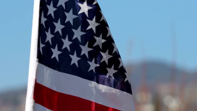 american flag (USA) blowing in the wind