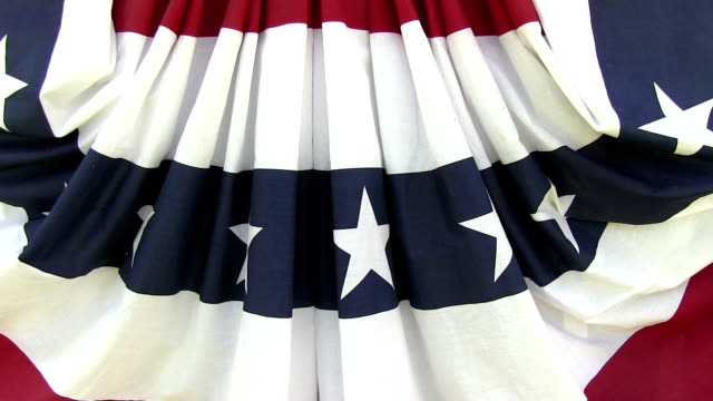 American flag bunting closeup with wind video