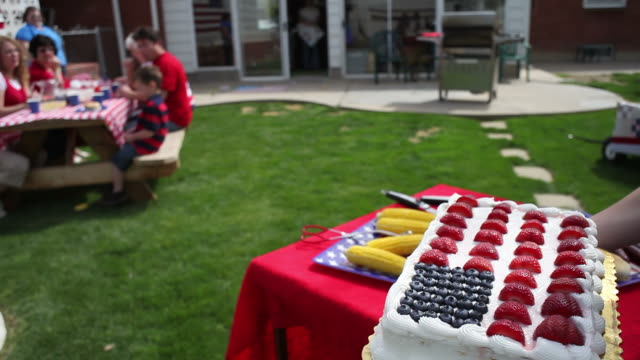 American flag cake  family 4th of july stock videos & royalty-free footage