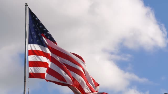 American flag closeup with copy space, slow motion video
