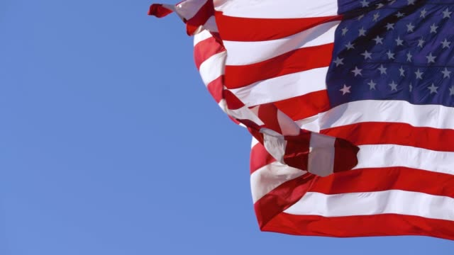 American flag closeup with copy space, slow motion