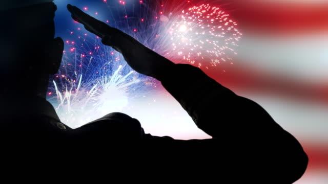 american flag fireworks, patriotic usa 911, army liberty salute memorial - luglio video stock e b–roll