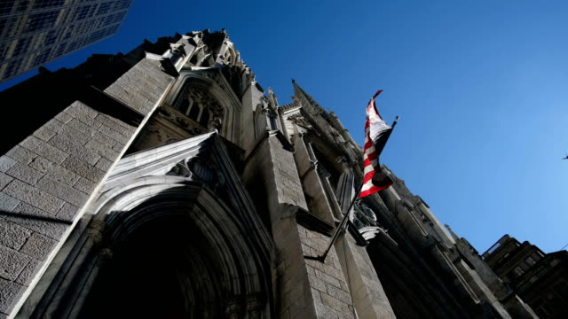 American flag fluttering at Saint Patrick Church in New York video