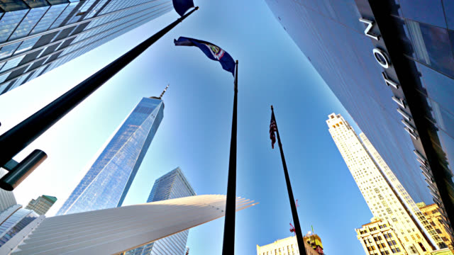 American Flag. Freedom Tower. Financail District. Skyline. Office. Skyscaper.