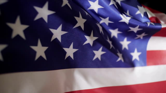 American flag in slow motion video