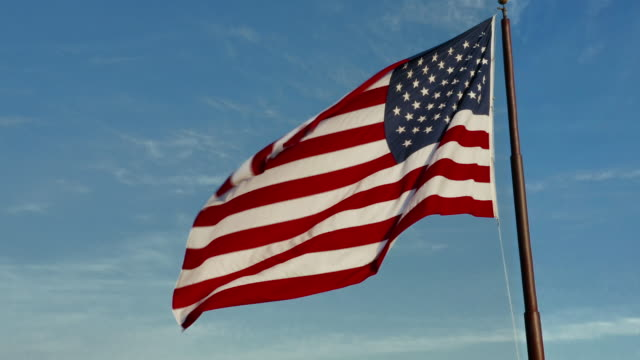 American Flag Majestically Flying in the Wind