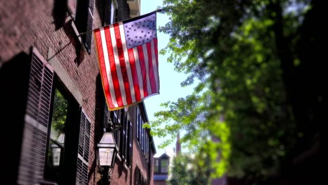 American flag on Acorn Street Boston video