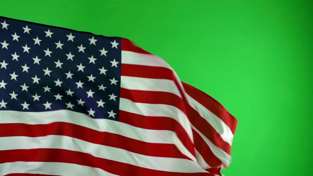 Usa American Flag On Green Screen Real Video Not Cgi Super